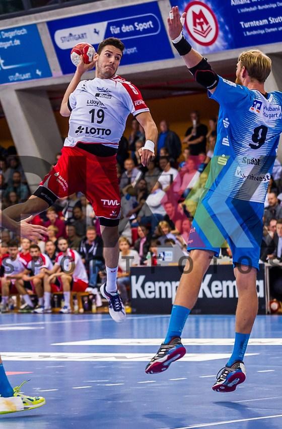 Jan REMMLINGER (#19 Ludwigshafen)  beim Spiel in der Handball Bundesliga, TVB 1898 Stuttgart - Die Eulen Ludwigshafen. Foto © PIX-Sportfotos *** Foto ist honorarpflichtig! *** Auf Anfrage in hoeherer Qualitaet/Aufloesung. Belegexemplar erbeten. Veroeffentlichung ausschliesslich fuer journalistisch-publizistische Zwecke. For editorial use only. (PIX-Sportfotos/Sandy Dinkelacker/PIX-Sportfotos.de)