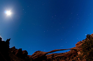 Landscape Arch Under Stars and Moonlight, Arches National Park, Utah, US (Roddy Scheer)