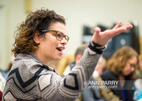 Wyandanch, New York, USA. March 26, 2017. GENNA HANAN, in audience, asks question during Politics 101 event, the first of series of activist training workshops for members of TWW LI, the Long Island affiliate of national Together We Will. (Ann Parry/Ann Parry, FromLongIsland.com)