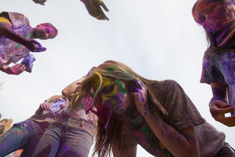 during the Holi Festival of Colors, on Saturday, Mar. 24, 2012, at the Lotus Temple, in Spanish Fork, Utah. (Photo by Benjamin B. Morris ©2012) (Benjamin B. Morris)
