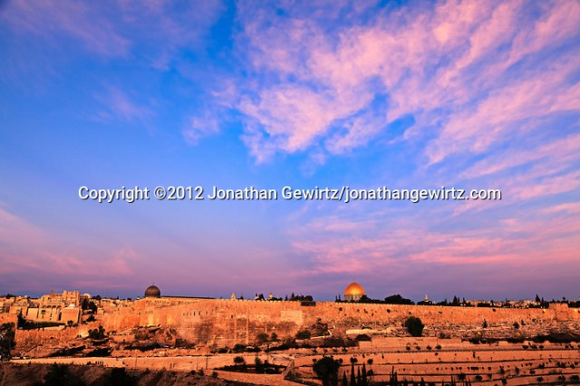 Jerusalem's Temple Mount and Jewish Quarter at Sunrise, viewed from the East. (© 2012 Jonathan Gewirtz / jonathan@gewirtz.net)