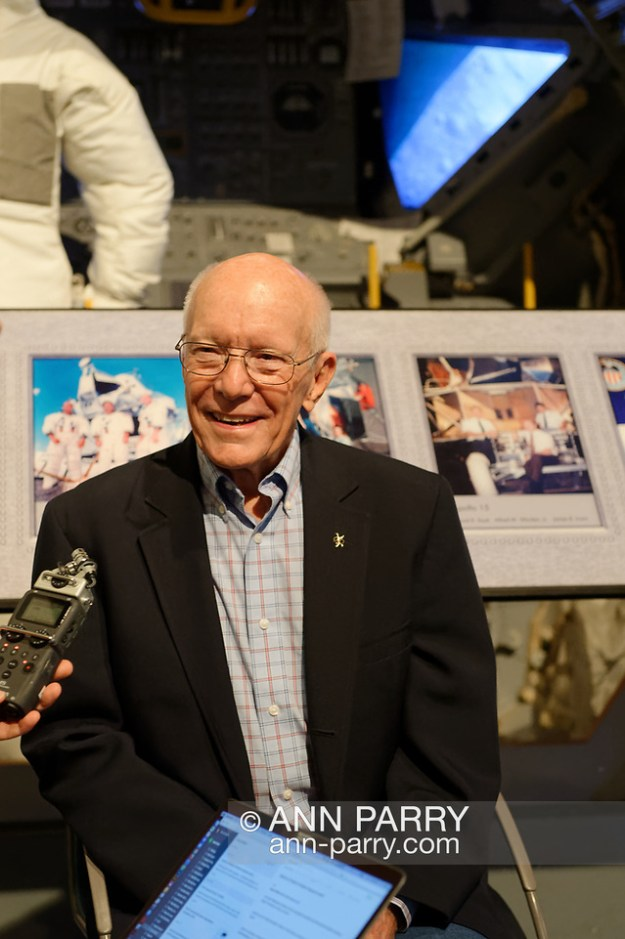 Garden City, New York, U.S. June 6, 2019. Apollo Flight Director GERRY GRIFFIN is interviewed during Cradle of Aviation Museum's Apollo Astronauts Press Conference during its day of events celebrating 50th Anniversary of Apollo 11. (Ann Parry/Ann Parry, ann-parry.com)