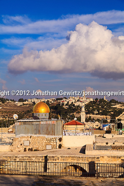 Rooftops in Old City of Jerusalem's Jewish Quarter, looking toward the Temple Mount and Dome of the Rock with the Mount of Olives and Augusta Victoria in the background. (© 2012 Jonathan Gewirtz / jonathan@gewirtz.net)
