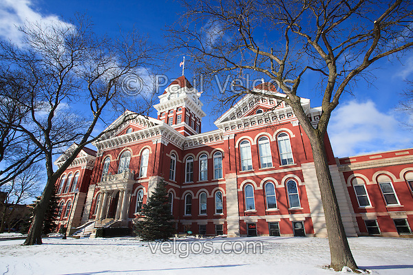 Courthouse in Crown Point Indiana photo. The Lake County Courthouse was built in 1878 and is nicknamed The Grand Old Lady. The courthouse architecture is Romanesque and Georgian. Today it's used for events and has a ballroom and restaurants. (Paul Velgos)