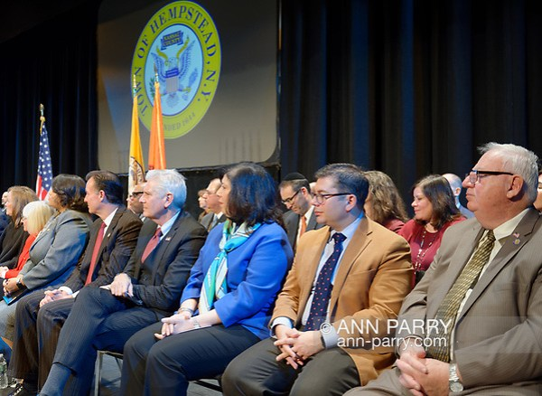 Hempstead, New York, USA. Jan. 1, 2018. R-L, NYS Senator JOHN E. BROOKS, Nassau County Comptroller JACK SCHNIRMAN, N.C. District Attorney MADELINE SINGAS, and Hempstead Town Councilman BRUCE BLAKEMAN are among dignitaries on stage at Swearing-In of Hempstead Town Supervisor Laura Gillen and Hempstead Town Clerk Sylvia Cabana at Hofstra University. (© 2018 Ann Parry/Ann-Parry.com)