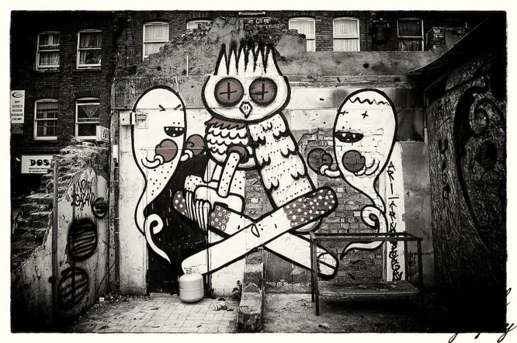Street art by Kid Acne & Dscreet, Shoreditch, East London (Viveca Koh)