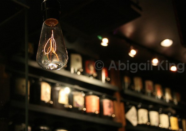 Bare lightbulb in Yaketori Bar