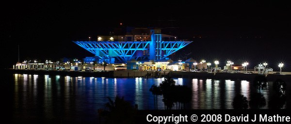St. Petersburg Pier at Night from the Vinoy Hotel. Image taken with an Nikon D3x and 200 f/2 lens (ISO 100,  f/11, 10 sec). (David J Mathre)