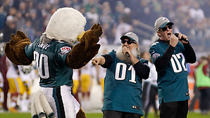 Eagles alumni and mascot Swoop participate in the pre-game show on the field. Image published as part of photo essay on WHYY's NewsWorks.org - http://www.newsworks.org/index.php/local/item/89516-young-champions-celebrated-at-eagles-game-photos (©2015, All Rights reserved - Bastiaan Slabbers/BasSlabbers.com) ((photo by Bastiaan Slabbers))