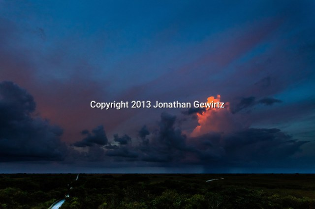 The last rays of the setting sun illuminate an isolated thunderstorm near the Shark Valley section of Everglades National Park, Florida. (Jonathan Gewirtz   jonathan@gewirtz.net)