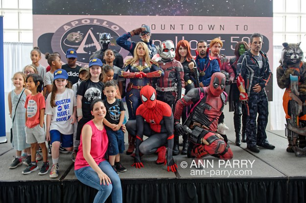Garden City, New York, U.S. July 20, 2019. The NY Avengers non profit cosplay Group, and visitors are on stage during  Moon Fest Apollo at 50 Countdown Celebration happening at Cradle of Aviation Museum in Long Island at  time Apollo 11 Lunar Module  landed on the Moon 50 years ago. (© 2019 Ann Parry/Ann-Parry.com)
