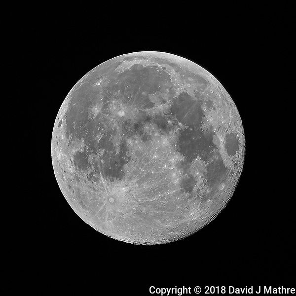 Full Moon. Image taken with a Nikon D810a camera and 600 mm f/4 VR telephoto lens (ISO 200, 600 mm, f/4, 1/200 sec). (David J Mathre)