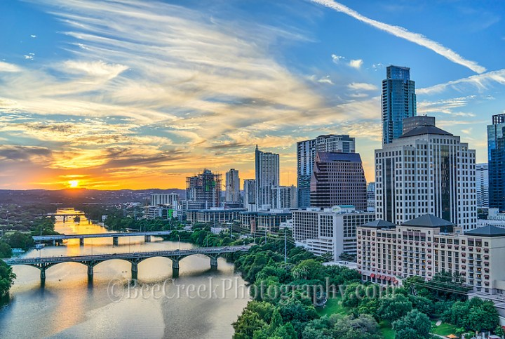 We captured this aerial image of the skyline along Lady Bird Lake at sunset with the Congress Bridge, First street bridge, Lamar Bridge all the way down the lake with the cityscape in view. (Tod Grubbs & Cynthia Hestand)
