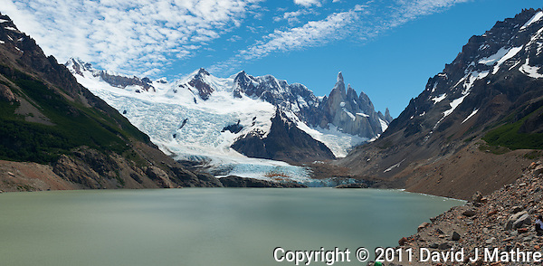 Laguna Torre Panorama. Composite of 4 images from a Nikon D3x and 50 mm f/1.4G lens (ISO 100, f/11, 1/40 sec) combined using Photoshop CS5. (David J. Mathre)