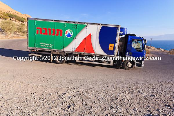 A Tnuva truck delivering dairy products near the Dead Seai. (© 2012 Jonathan Gewirtz / jonathan@gewirtz.net)