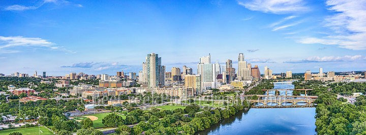 We capture this Austin Skyline along Lady Bird Lake with the downtown area including the Texas Capital and the UT Tower in this Panorama.  The one day where we saw the sun come out in some time.  This image capture the view down Lady Bird Lake with the Lamar bridge, all the way to Congress with the city along the shoreline. (Tod Grubbs & Cynthia Hestand)