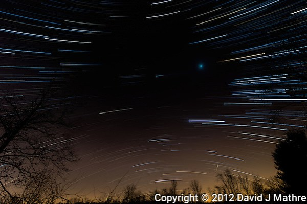 Late Fall 02:00 to 03:00 AM Sky Star Trail (with anomaly) in New Jersey. Composite of 60 Images taken with a Nikon D4 and 14-24 mm f/2.8G lens (ISO 200, 14 mm, f/2.8, 59 sec) using Star Trails. (David J Mathre)
