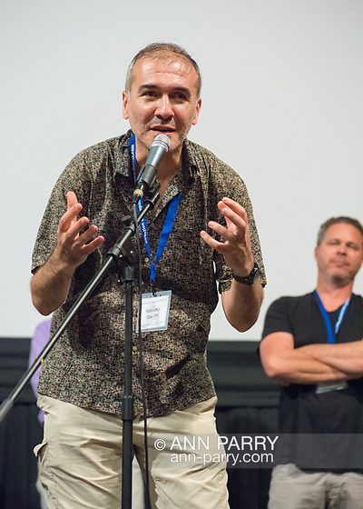 Bellmore, New York, USA. 19th July 2017. Director and writer ARSHAK AMIRBEKYAN speaks during a Q&A at the Long Island International Film Expo LIIFE 2017. (© 2017 Ann Parry)
