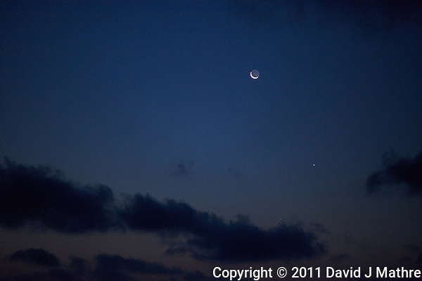 Pre-Dawn View of the Moon, Venus, and Mercury. Image taken with a Nikon D3x and 85 mm f/1.4G (ISO 1600, 85 mm, f/1.4, 1/30 sec). Raw image processed with Capture One Pro 6 and converted to jpg/sRGB with Photoshop CS5. (David J Mathre)
