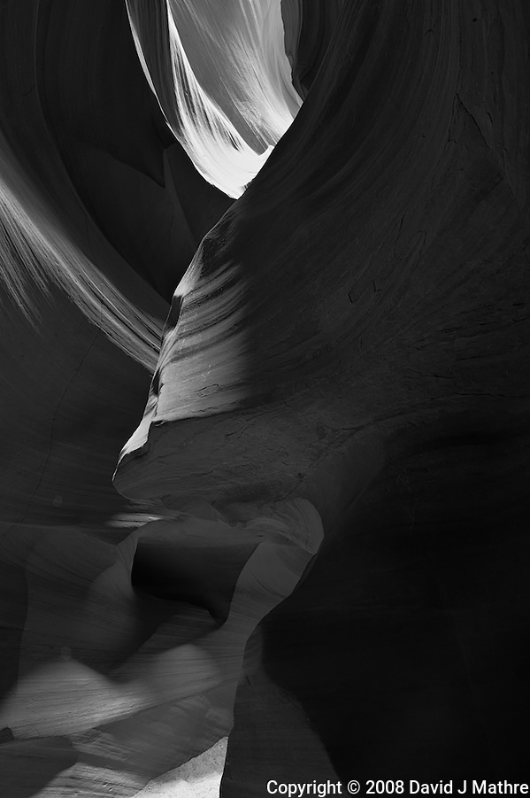 Upper Antelope Canyon, Page Arizona. Image taken with a Nikon D3 camera and 14-24 mm f/2.8 lens (ISO 200, 24 mm, f/16, 30 sec). Image processed with Capture One Pro. Converted to B&W with NIK Silver Efex Pro 2 (David J Mathre)