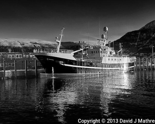 Kamaro fishing trawler docked in Tromsø, Norway. Image taken with a Leica X2 camera (ISO 100, 24 mm, f/5.6, 1/200 sec). Raw image processed with Capture One Pro (including conversion to B&W). (David J Mathre)