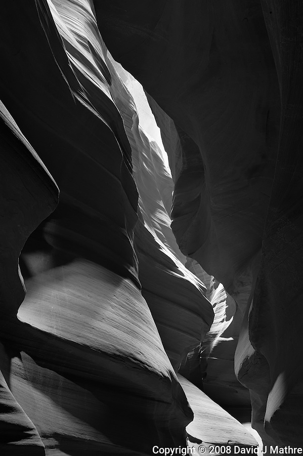 Upper Antelope Canyon, Page Arizona. Image taken with a Nikon D3 camera and 24-70 mm f/2.8 lens (ISO 200, 24 mm, f/16, 25 sec). Image processed with Capture One Pro. Converted to B&W with NIK Silver Efex Pro 2 (David J Mathre)
