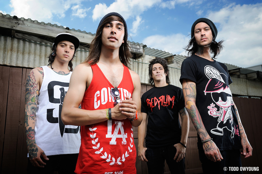 Pierce The Veil photographed backstage on Warped Tour, July 5, 2010 (TODD OWYOUNG)