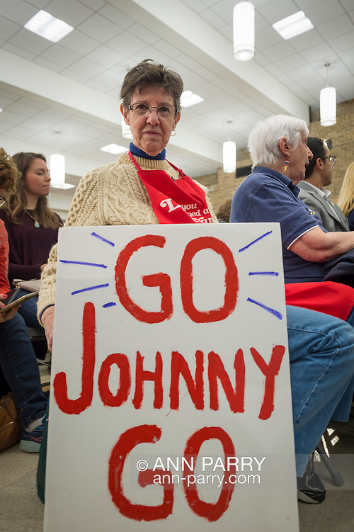 Hempstead, New York, USA. April 4, 2016. MAUREEN O'BRIEN, from Bethpage, holds a 'GO Johnny GO' sign she brought to Town Hall hosted by JOHN KASICH, Republican presidential candidate and governor of Ohio, at Hofstra University David Mack Student Center in Long Island. O'Brien is a registered Republican and supports Kasich. The New York primary is April 19, and Kasich is the first of the three GOP presidential candidates to campaign in Nassau and Suffolk Counties, and is in third place in number of delegates won. (Ann Parry/Ann Parry, ann-parry.com)