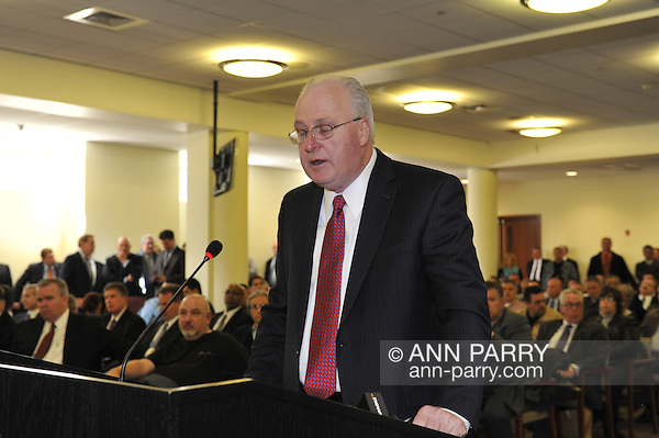 Nassau County Legislature, controlled by Republicans, votes along party lines to consolidate 8 police precincts into 4, on Monday, March 5, 2012, at Mineola, New York, USA. Thomas Dale was confirmed as Nassau County Police Commissioner earlier that meeting. (Ann Parry/Ann Parry, ann-parry.com)
