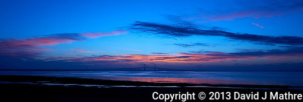 Sunshine Skyway Bridge Panorama at Dawn from Fort De Soto Park, in Pinellas County, Florida. Image taken with a Nikon D4 and 17-35 mm f/2.8D lens (ISO 100, 26 mm, f/11, 1/13 sec). (David J Mathre)