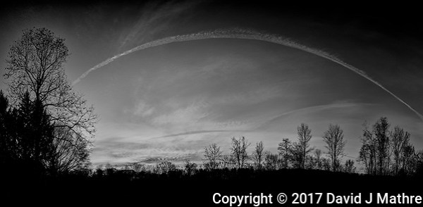 Backyard Autumn Clouds at Dawn. Composite of 11 images taken with a Nikon Df camera and 28 mm f/1.8 lens (ISO 100, 28 mm, f/1.8, 1/125 sec). Raw images processed with Capture One Pro, composite produced with AutoPano Giga Pro, and converted to B&W with Nik Silver Efex Pro (David J Mathre)