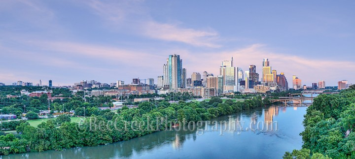 Captured this aerial pano image of the Austin skyline downtown over Lady Bird Lake at sunset.  This image includes all the way to Texas Capital to UT Tower. This cityscape image was a fleeting capture only got these great sky with pink colors for a moment. We loved this view looking down Lady Bird Lake with all the high rise buildings along the shore line and the Lamar, Pfluger, along with First and Congress. We also found out that they had closed down the lake due to flooding upstream while we were shooting, just another day in Texas. (Tod Grubbs & Cynthia Hestand)