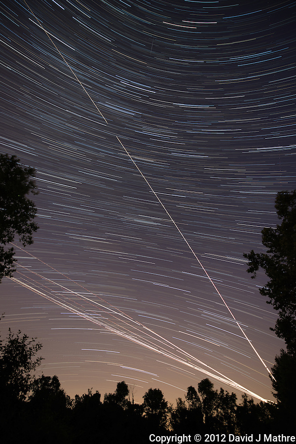 Startrails Looking For Perseid Meteors. Summer Night Sky in New Jersey. Composite of images taken between 2113h and 2200h with a Nikon D800 and 14-24 mm f/2.8 lens (ISO 400, 14 mm, f/2.8, 30 sec) using the Startrails program. (David J Mathre)