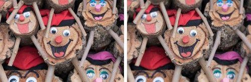Ejemplo de enfoque creativo: a la izquierda, versión original. A la derecha, he enfocado la cara central y he desenfocado las otras.