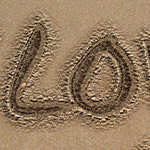 Writing in sand text