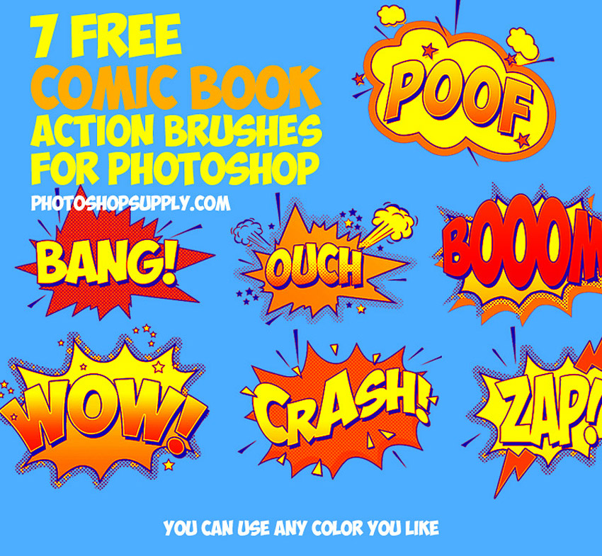 Free Comic Book Sound Effects Brushes for Photoshop