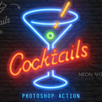 Neon Light Text Effect Photoshop Action
