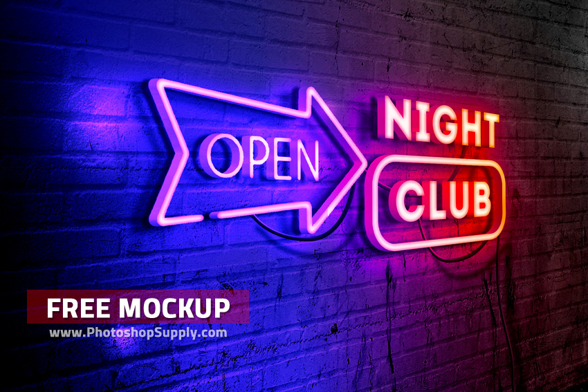 Neon Text Mockup Free for Photoshop