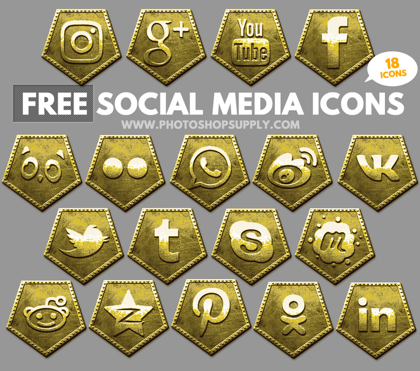 Free Social Media Icons 2018 Gold