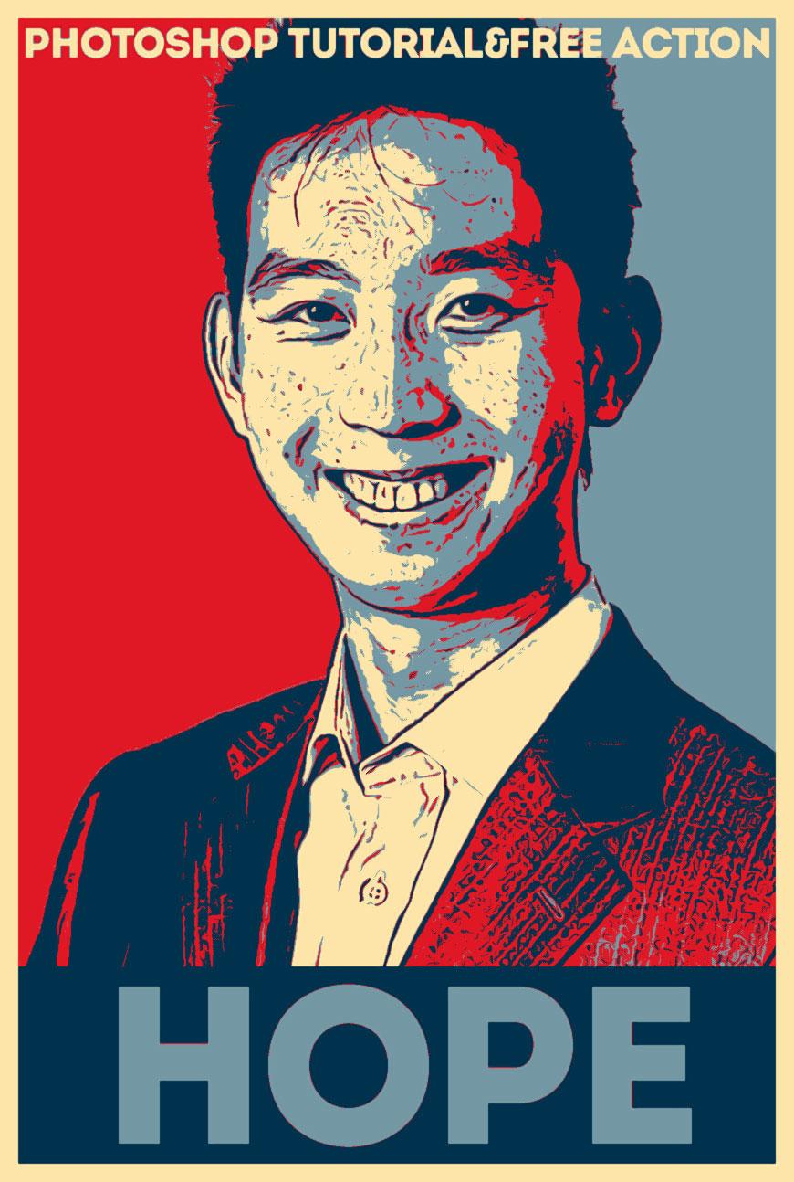 Obama Hope Poster Photoshop Action