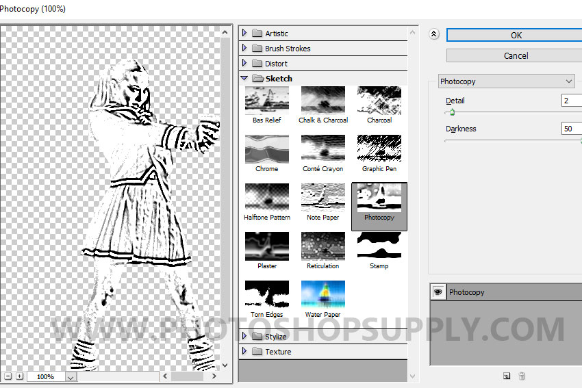 photocopy sketch filter in photoshop