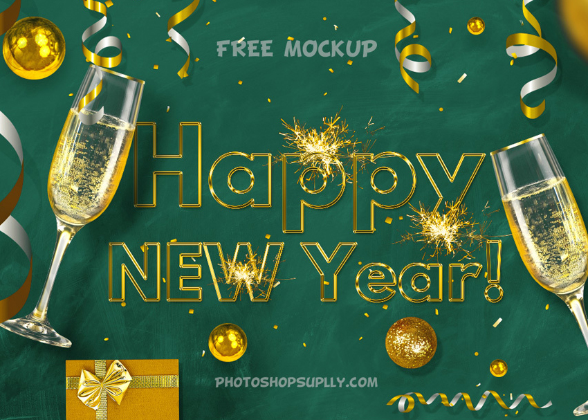 happy new year mockup free photoshop supply