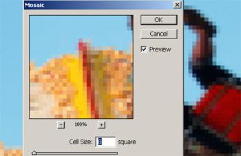 Applying a Mosaic filter.