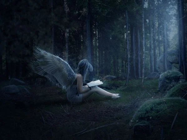 create a mystical night forest scene with an angel photoshop tutorials