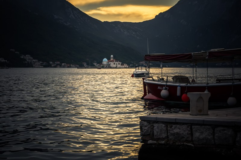 View of Kotor bay from Pertast at sunset with Our Lady Of The Rocks