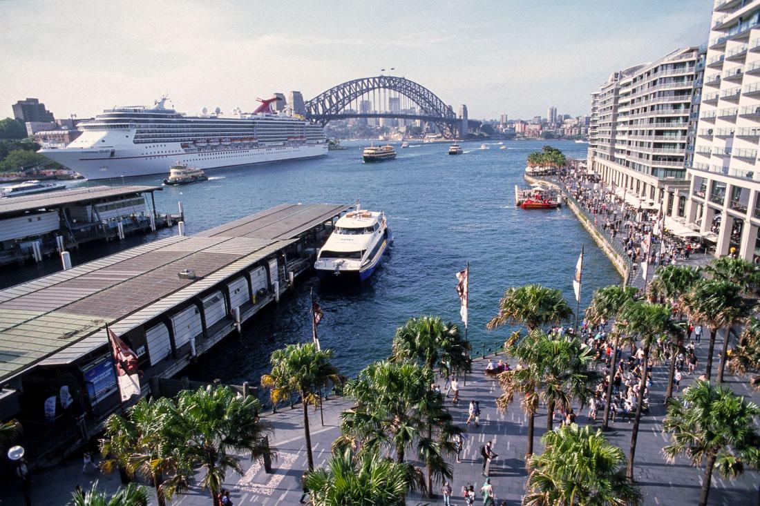Circular Quay, Sydney. Nikon F3, Nikkor 20mm f/4 ai, Kodak Ektachrome E100