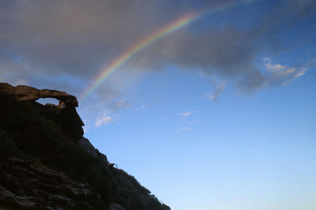 Rainbow, La Perouse. Nikon F3, 35mm f/2.8 ai, Kodak Ektachrome E100
