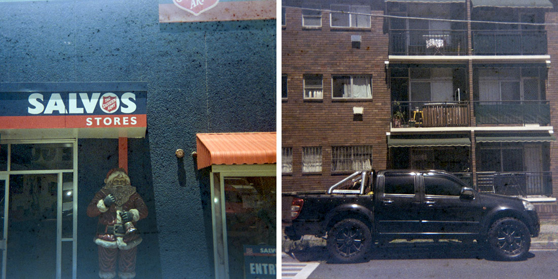 Christmas Salvos/Black truck, Kodak Instamatic 133, Fujicolor Super HGII 100 (expired 1995)
