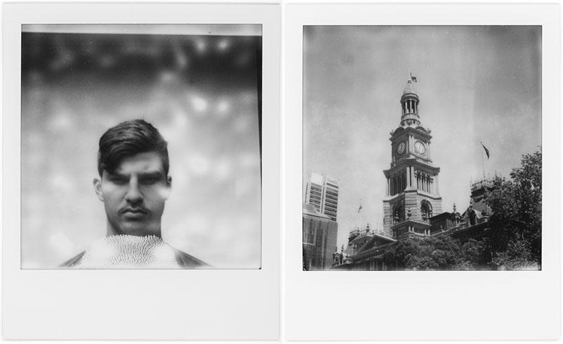 L: Matt, R: City Hall, Polaroid SX-70, Polaroid Originals B&W SX-70