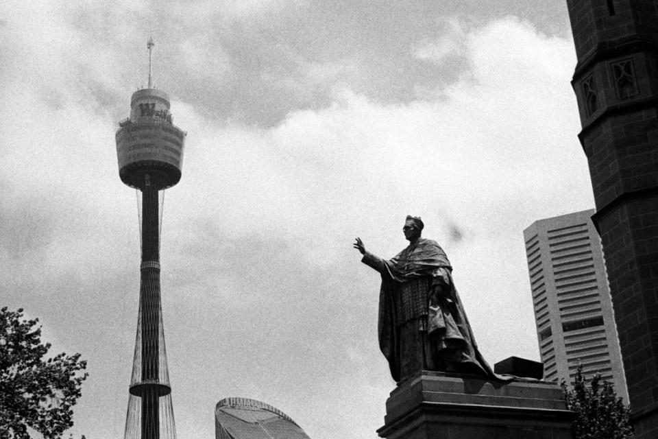 Statue and tower, Canon Sure Shot 70 Zoom, Kodak Tri-X 400 at EI 800